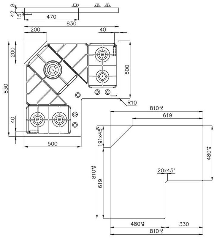 FOSTER 7038052 - PIANO COTTURA ANGOLO 3S1A1TC V INOX