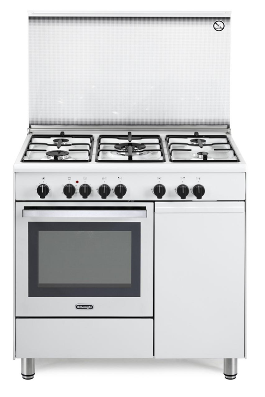 De Longhi Demw96b5 Cucina Bianca 5 Fuochi Gas Forno Elettrico Multifunzione Vano Portabombola Vano Scaldavivande Cm Design