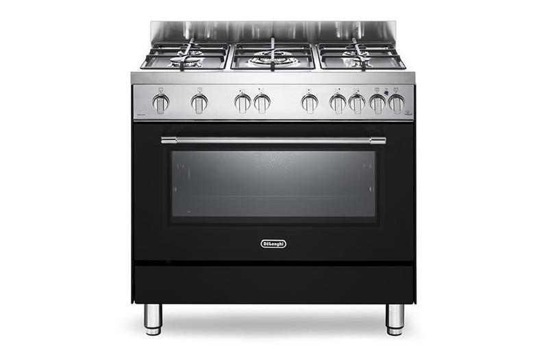 De longhi PRO96GVA - cucina 90x60, antracite, griglie ghisa, forno gas  ventilato, grill elettrico